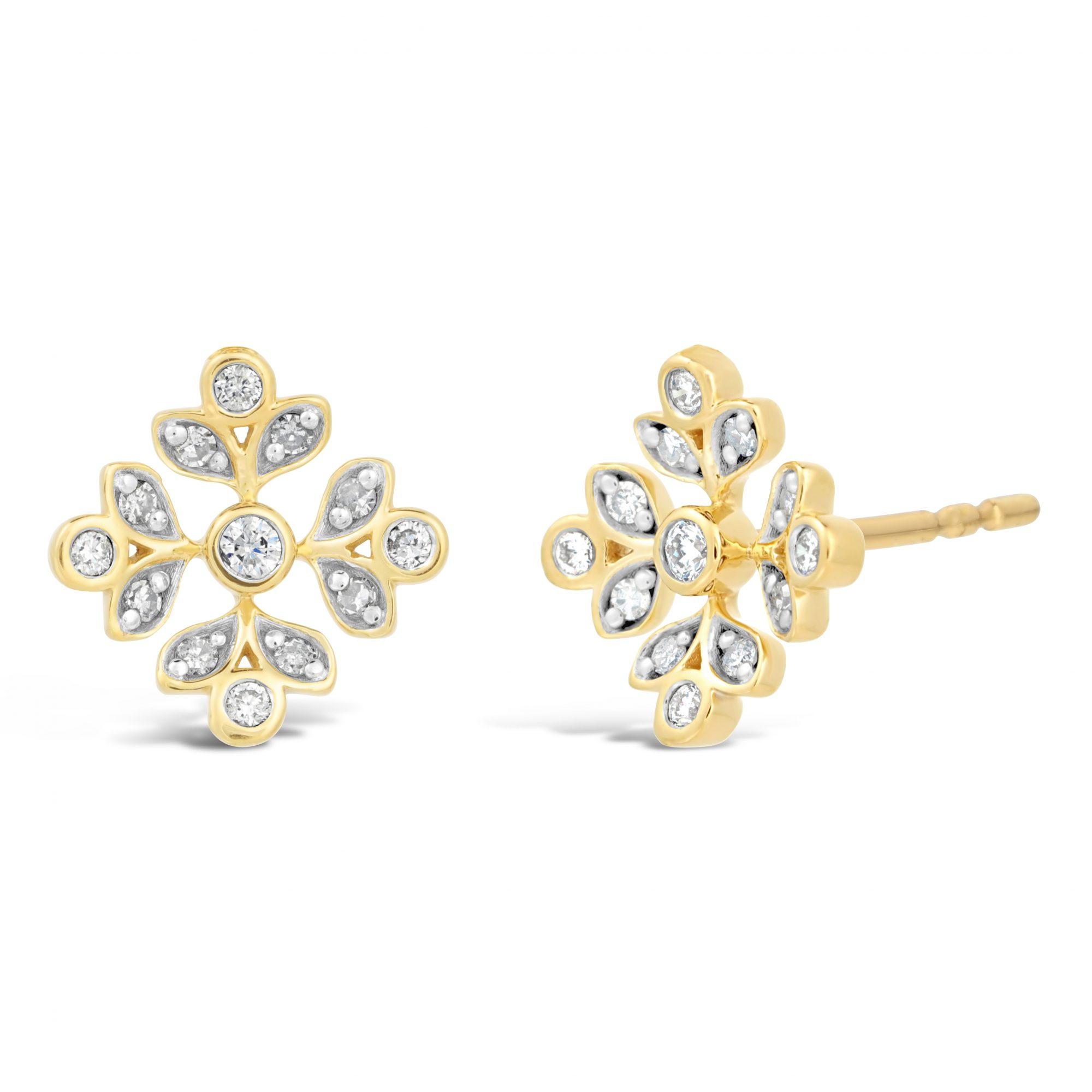 Flurry - 0.06 Diamond 925 Sterling Yellow Silver Fancy Snowflake Stud Earrings